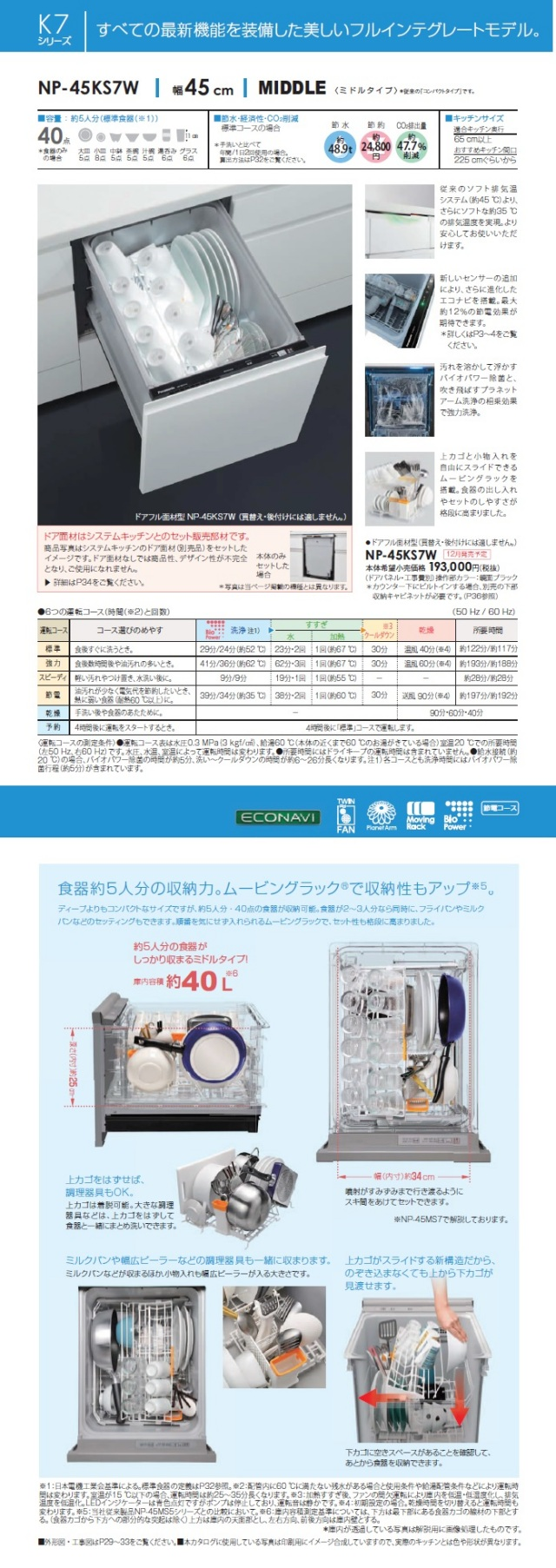 Panasonic ビルトイン食器洗い乾燥機 KS7W 商品説明